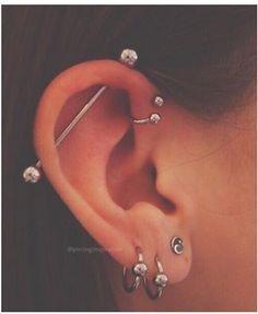 Initial Earrings, Gold Bar Earrings, Emerald Earrings, Chain Earrings, Daith Piercing, Ear Piercings, Peircings, Minimalist Earrings, Minimalist Jewelry