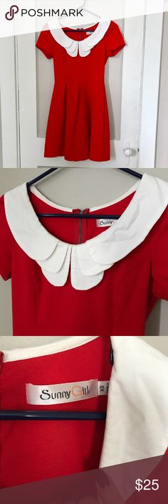 """ModCloth Red Collared Dress Adorable dress by popular ModCloth brand Sunny Girl. Zips up back. In EUC! Bust: 32"""" waist:25"""" some stretch to fabric. ModCloth Dresses"""