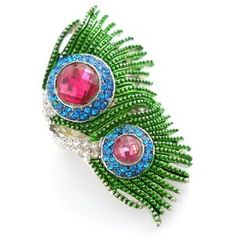 Peacock Feather Pave Crystal Stretch Ring