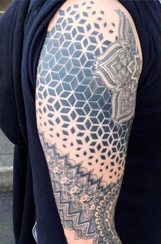 Healed sacred geometry sleeve by Cassady Bell @ Sideshow Alley Tattoo Odditorium, Portland, OR