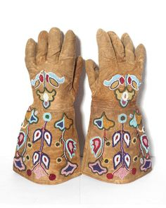 Antique BEADED LEATHER GLOVES 1900's Western Riding Gauntlet Hand Beading