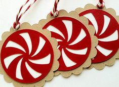 Holiday Peppermint Candy Gift Tags, Christmas Gift Tags, Set of 6
