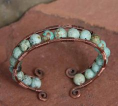 Copper andTurquoise Cuff Bracelet by AlaskaFirefly on Etsy