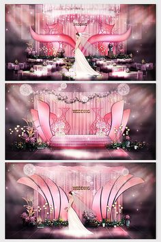 Fresh and delicate,beautiful,pink Chinese wedding effect Wedding Backdrop Design, Wedding Stage Design, Wedding Stage Decorations, Wedding Designs, Wedding Ideas, Pink Blue Weddings, Decoration Chic, Wedding Arch Flowers, Romantic Themes