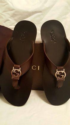 8da8e06f513a Auth Gucci Men GG thong Brown leather sandal GUCCI 8 US8