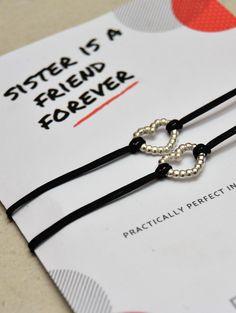 514e0301cf30 SISTERS BRACELET. Wish bracelet for sister. Love heart bracelet. Gift for  sister Christmas gift. Present for sister