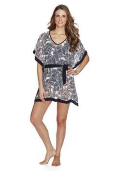 bbfa4108b7 Women's Paisley Chiffon Poncho Cover-up from Lands' End Lands End, Swimwear  Fashion