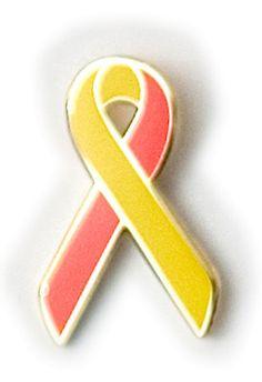 red and yellow awareness ribbon pin