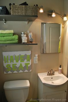 Cute bathroom makeover. This link might work better though: http://www.ohsoprettythediaries.com/2012/01/bathroom.html