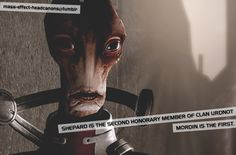 """"""" Shepard is the second honorary member of Clan Urdnot. Mordin is the first. """" (source: i-am-shepard-commander)"""