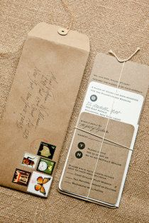 kraft paper with twine invitation suite