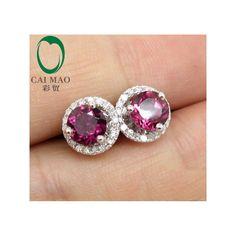14k W/G Natural Diamond & Pink Tourmaline Earrings Studs Earrings Jackets, Wholesale Earrings Resizale