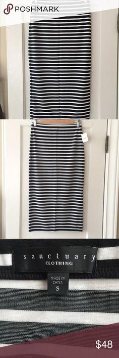 Black and white striped skirt NWT Brand new fitted black and white striped skirt.  NWT Sanctuary Skirts