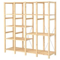 IKEA - IVAR, 4 sections with shelves, Untreated solid pine is a durable natural material that can be painted, oiled or stained according to preference.You can move shelves and adapt spacing to suit your needs. Metal Shelving Units, Wire Shelving, Utility Shelves, Solid Pine, Solid Wood, Ivar Regal, Ikea Organization, Garage Organisation, Recycling Facility