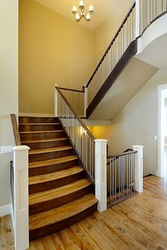 Stairs (Railing)  and contrast between 2 stains