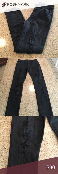 Kendall &a Kylie destroyed black jeans Like new, size 11 Kendall and Kylie destroyed black denim skinny jeans Kendall & Kylie Jeans Skinny