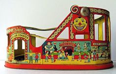 A Vintage J Chein 1940s Toy Roller Coaster, a Carnival and Fair Old Time Circus Ride with a wrap-around of Colorful, Vibrant and Clear, Tin Litho Designs,