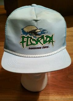dceffd512a6 Vintage Florida Sunshine State Snapback Cap rope Hat-Trucker fishing dolphin   capital