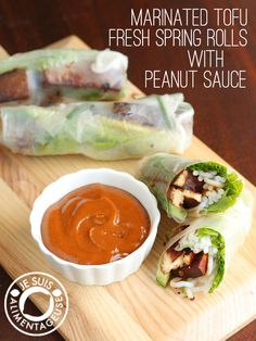 Marinated Tofu Fresh Spring Rolls with Peanut Sauce