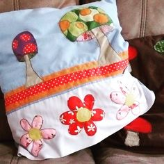 Ta dah! #mushrooms cushion cover finally finished! #stitched and #appliqued and utterly squishy