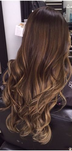Ombre Hair Color for Brunettes Hair Styles Ombre Brown, Balayage Ombre Hair Color For Brunettes, Brunette Ombre, Brunette Color, Hair Color Balayage, Blonde Balayage, Brunette Hair, Hair Highlights, Pastel Highlights, Long Brunette