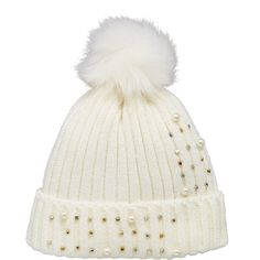 V By Very Pearl And Embellished Detail Beanie ($20) ❤ liked on Polyvore featuring accessories, hats, embellished beanie, beanie cap hat, cream beanie hat, beanie caps and beanie hat