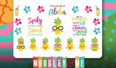 Pineapple Planner Stickers for your Erin Condren Life Planner, Happy Planner, or any monthly planner! by MoogleyandMe on Etsy