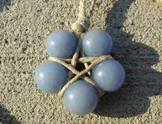 Hemp Wrapped Angelite Star Necklace by LWaite.deviantart.com