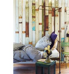 """""""reclaimed wood in the bedroom"""" (wallpaper from Piet Hein, I say) ~ photo by Prue Ruscoe"""