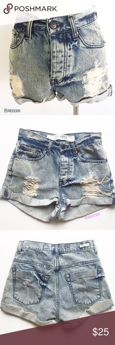 """MELVILLE Distressed Denim Shorts The perfect staple item! Brandy Melville Denim shorts. Distressed. 4 buttons. A Melville 38 so like XXS-XS. Waist: 13"""" laid flat and measured straight across. EUC. Made in Italy. Please feel free to ask any questions :) Sorry, no trades. Brandy Melville Shorts Jean Shorts"""