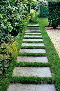 Pathway through lawn leading to meadow.