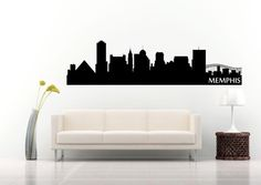 https://www.etsy.com/shop/StickItStickers  Memphis Tennessee Skyline Silhouette Wall Decal by StickItStickers
