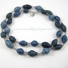 Blue Denim Fabric Bead Necklace with Czech Glass Beads by Casual Day Designs - jewelry for your jeans, via Flickr