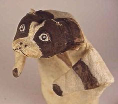 Antique BOSTON TERRIER CLOTH HAND PUPPET c. 1880-1900  Great Hand Painted Face - Good Condition