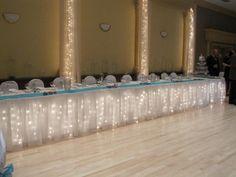 Waterfall lighting on Head Table