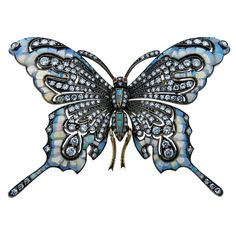 Fabulous Opal Diamond Gold Butterfly Brooch | From a unique collection of vintage brooches at https://www.1stdibs.com/jewelry/brooches/brooches/