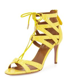Beverly Hills Snakeskin Cuffed Sandal, Lemon (Yellow), Size: 37.5B/7.5B - Aquazzura