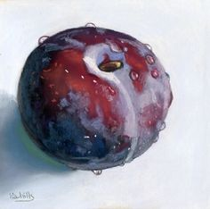 "wet plum still life fruit painting 7"" x 7"", painting by artist Ria Hills"