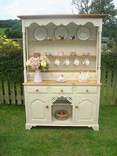 Stunning shabby chic,country,farm house dresser hand painted in Annie Sloan #shabbychicdressersvintage