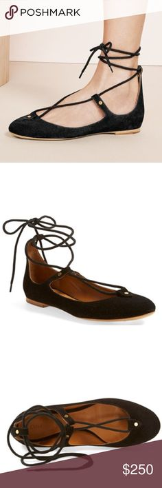 Chloé Foster Lace-Up Ballet Flat Slim wraparound laces echo classic ballerina shoes on a graceful suede flat shaped with a low-cut topline and a pretty, rounded toe. Wraparound laces. Suede upper/leather lining and sole. NEW. Never worn. Chloe Shoes Flats & Loafers