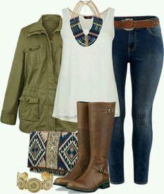 Jacket kakhi blue jean brown boots ethnic bag