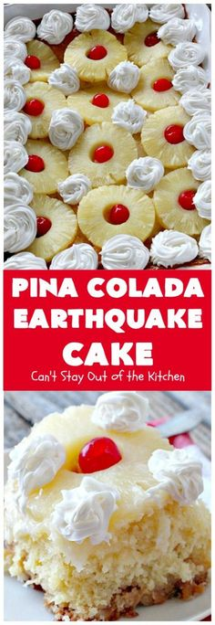 This spectacular cake is filled with a pineapple cake mix and crushed pineapple, macadamia nuts, vanilla chips, coconut, a cheesecake filling and it's garnished with pineapple slices and maraschino cherries. Great Desserts, Delicious Desserts, Dessert Recipes, Cupcake Recipes, Dinner Recipes, Yummy Food, Pineapple Cake, Pineapple Coconut, Baked Pineapple