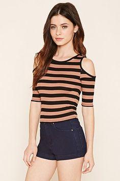 Striped Open-Shoulder Top