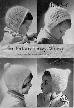 1950s girls mohair/fuzzywuzzy hats/bonnets in 4 by Hobohooks, £1.20