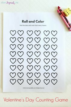 Roll and Color Valentine's Day Counting Game - fun counting activity for Valentine's day (free printable)