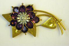 Vintage Retro Purple Glass Large Flower Brooch