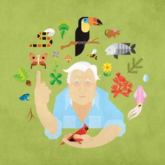 Father Earth, Sir David Attenborough illustration by Always With Honor Graphic Design Illustration, Illustration Art, David Attenborough, Blog Deco, Arte Pop, Japanese Prints, Flower Wall, Mother Earth, Geek Stuff