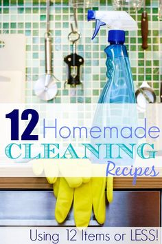 Check out this quick list of some of my favorite Homemade Household Cleaning Recipes you can make with just 12 items!