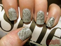More newsprint nails! I want to do it....what would the comics look like? This reminds me of silly putty