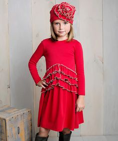 Another great find on #zulily! True Red Peony Dress & Hat - Girls by  #zulilyfinds